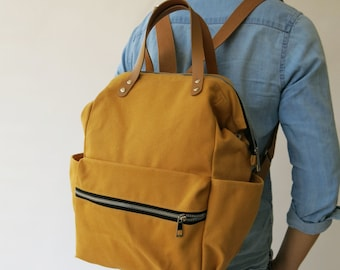 Canvas yellow mustard diaper Backpack ,handbag, Canvas backpack, Diaper Bag, Laptop bag, Women , unisex ,School bag, Vegan Leather,ETSY SALE