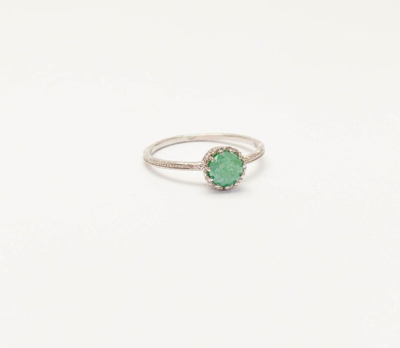 CHRISTMAS SALE Thin Silver Ring Green Stone Druzy Mint