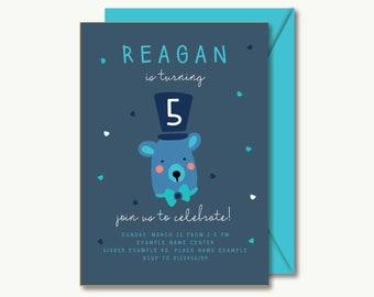 cute birthday invitation printable | 5 years old bear boys girls blue simple minimalistic hand written style