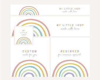 etsy shop set design   rainbow pastel cute sweet kids children mini banner   minimalistic simple classy minimalist   brand design