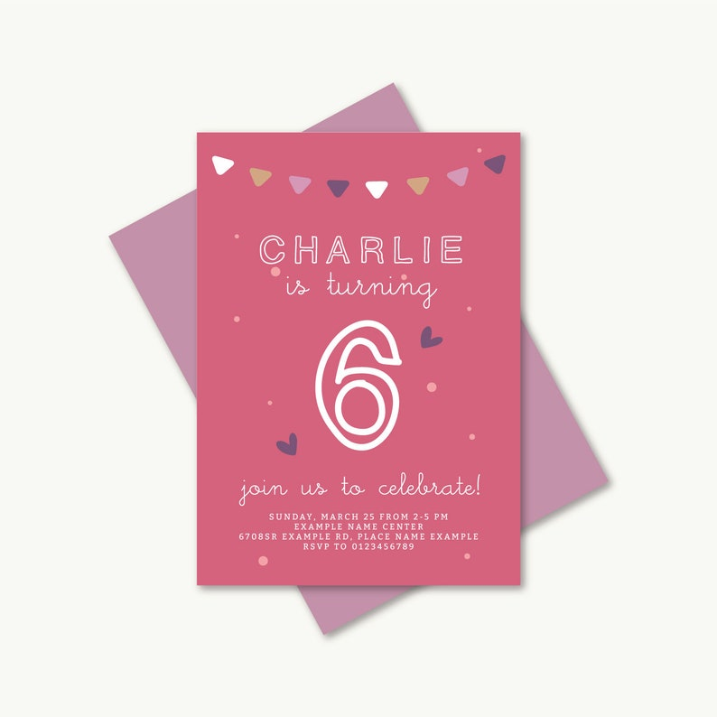 Printable Pink Birthday Invitation Card Birthday Party Invite Kids Children Digital Custom Diy