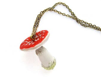 Red Amanita pendant necklace decoration Mushroom Charm, Polymer Clay Miniature Jewelry, Forest Charms, Nature Jewelry, Mushroom Art