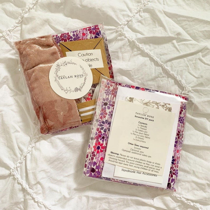 DIY Scrunchie kits  Makes TWO scrunchies per pack  At home  Pink