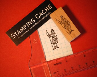 Hand carved rubber stamp - beefeater design.