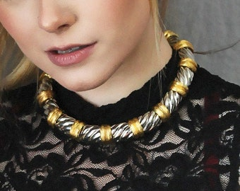 Vintage 70's Two Tone Statement Necklace