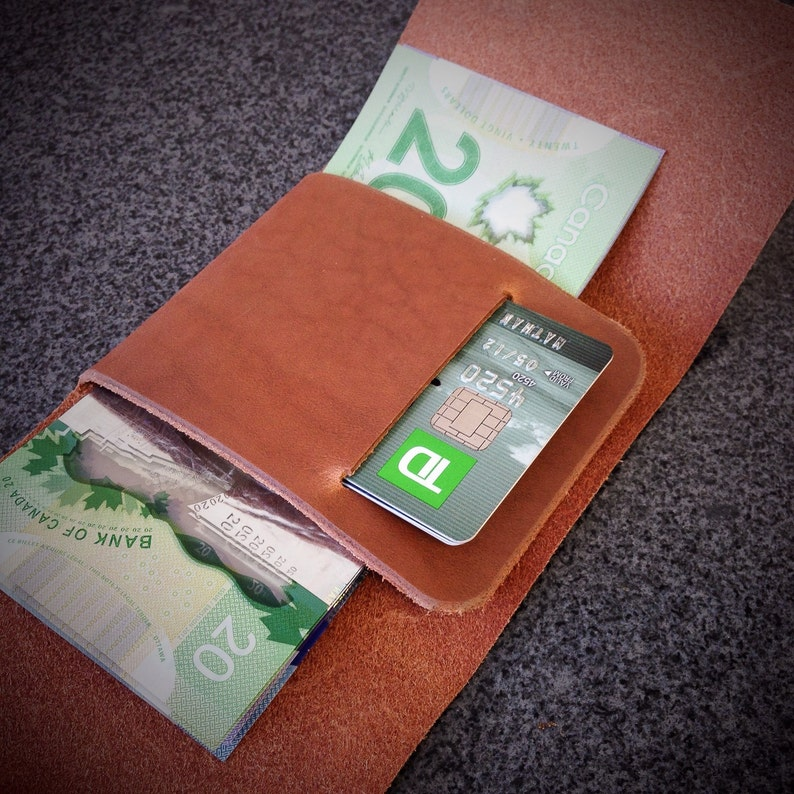 Leather Minimalist Wallet / Trifold Wallet / Stitchless Wallet image 0