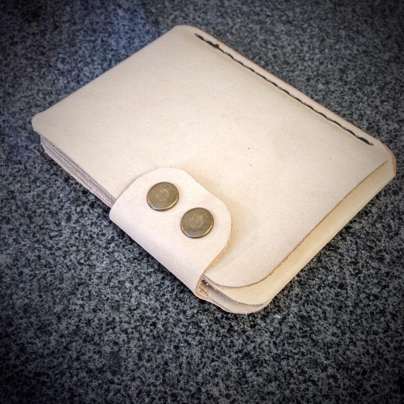 Leather Minimalist Wallet  Vertical Snap Wallet  Men's image 0