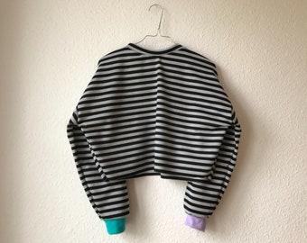 Cropped Striped Scrap Sweatshirt | Handmade in Berlin | Slow Fashion