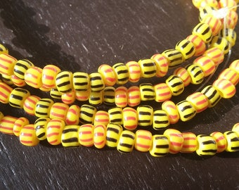 Christmas beads, striped glass beads, 5 mm.diameter, strand 36 inches, 90 cm.