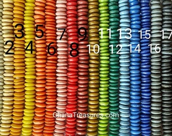 8 inches string, 40+ large saucer beads, 13-15 x 4-7 mm., 18 colors + rainbow