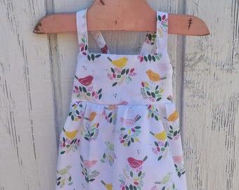 Baby Bird Dress, Baby Easter Dress, Toddler Bird Dress, Baby Summer Dress, Baby White Dress, Toddler Bird Dress