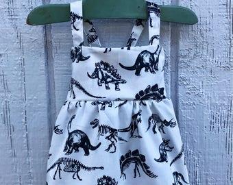Dinosaur Baby Dress, Baby Dinosaur, Baby Summer Dress, Baby White Dress, Toddler Dinosaur Dress