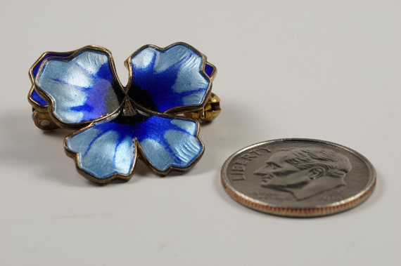 Pansy Pin Brooch Gorgeous Blues David Andersen En… - image 4