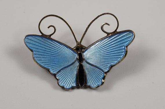 David-Andersen Butterfly Brooch in Cobalt Enamel with Guilloche Wings