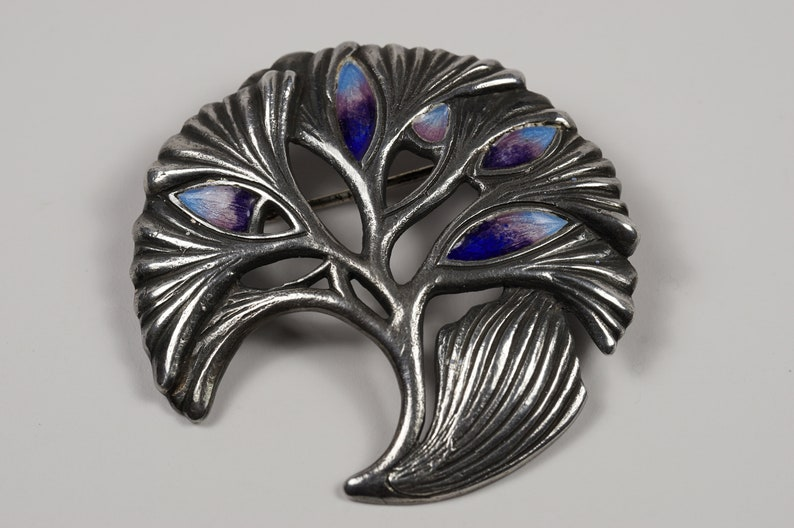 Purple and Blue Enamel Accents on Silver Pin Brooch Sprig of Branches