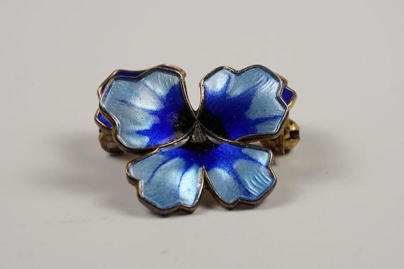 Pansy Pin Brooch Gorgeous Blues David Andersen En… - image 1