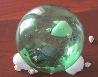 One Green Blown Glass Float