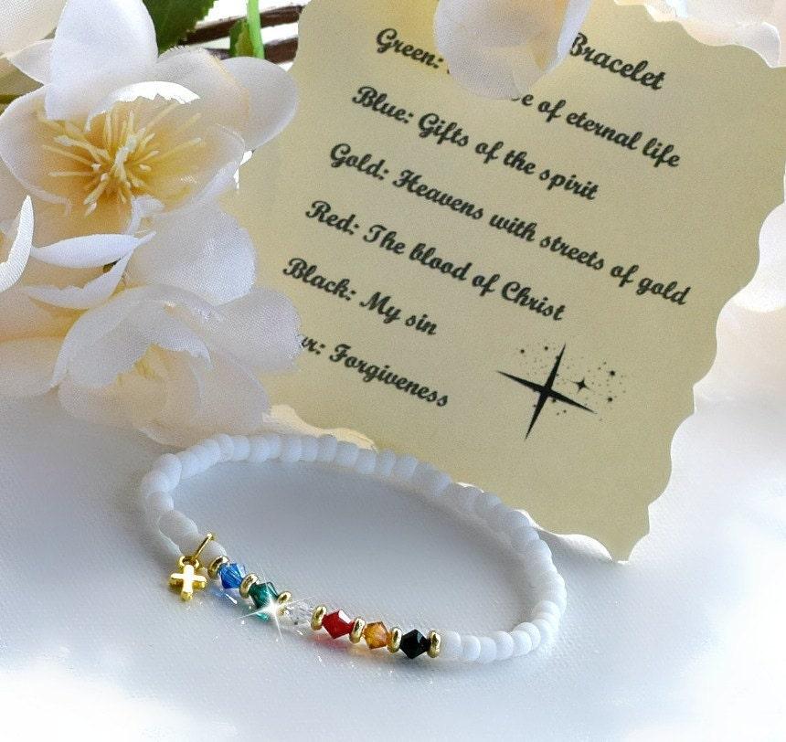 c1c6e7c12952 Pulsera de salvación, estirable blanco mate granos/Swarovksi  cristales/Christian Jewelry