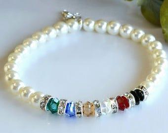 Swarovski Crystal and Pearl Salvation Bracelet