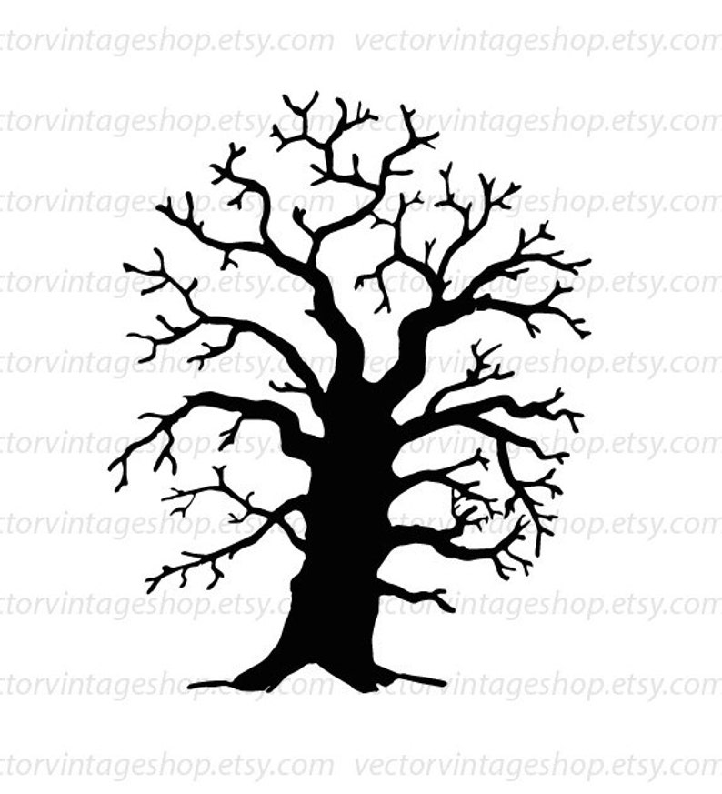 Oak Tree Vector Clipart Commercial Use Tree Silhouette