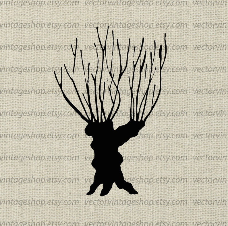 Willow Tree Vector Clipart Bare Tree Trunk Silhouette Clip Etsy