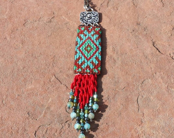 Southwest Diamonds loomwork Necklace Native American inspired beadwork pendant by beadworkdreamsraven