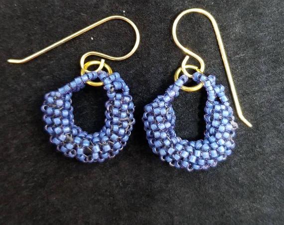 Blue beadwork earrings Native American inspired Beadwork Dreams Raven