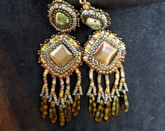Jasper Tigers eye  earrings Native American inspired Beadwork Dreams Raven