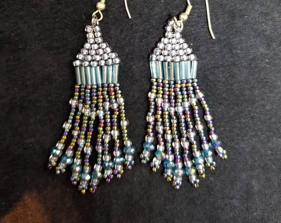 Blue crystal Native American inspired Beadwork earrings Beadwork Dreams Raven