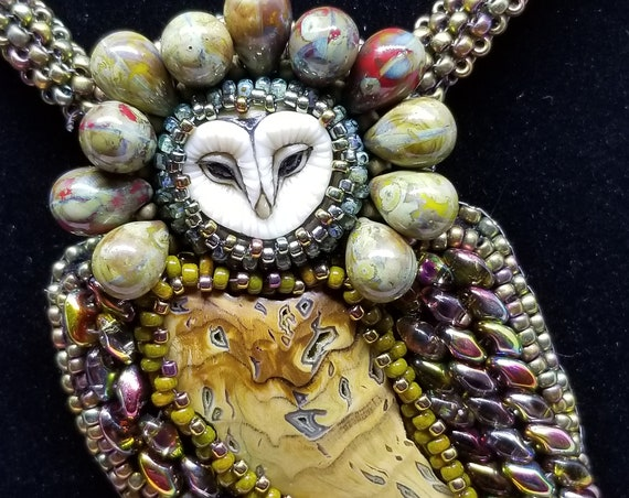 Wee owl necklace Native American inspired beadwork Rita Caldwell, Laura Mears cabochon