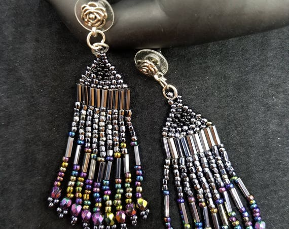 Ravens wings Native American inspired earrings  Beadwork Dreams Raven