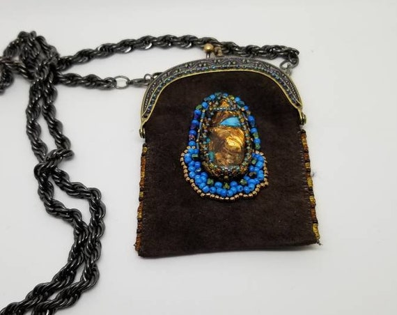 Medicine bag Native American inspired beadwork Rita Caldwell
