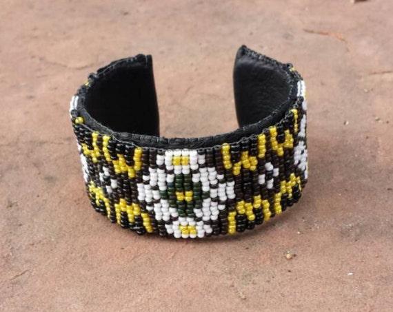 Flowers Beadwork cuff bracelet native american inspired Rita Caldwell