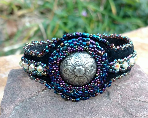 Blue iris and silver bracelet  Rita Caldwell Native American inspired