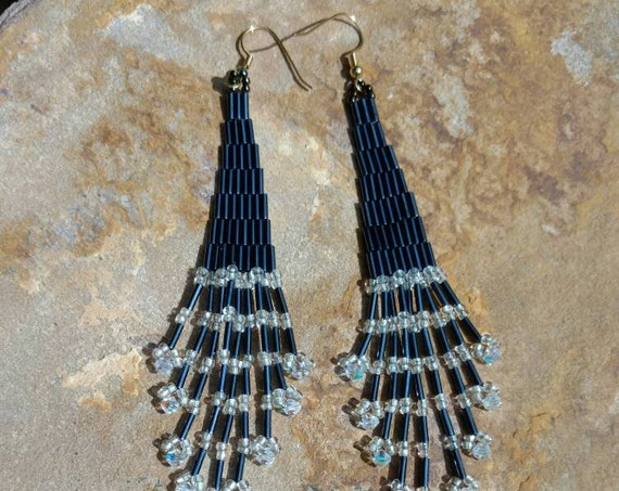 Shoulder duster earrings crystal and Gray's Native American inspired beadwork Beadworkdreamsraven