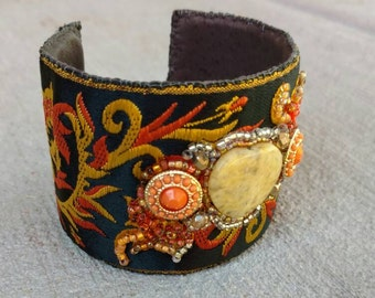 Vintage ribbon beadwork Oranges and lemons embroidery cuff by Ritacaldwell Beadworkdreamsraven