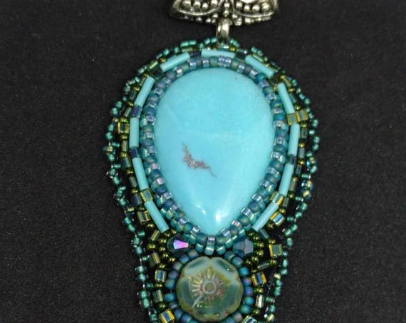 Turquoise and glass pendent  Rita Caldwell Native American inspired