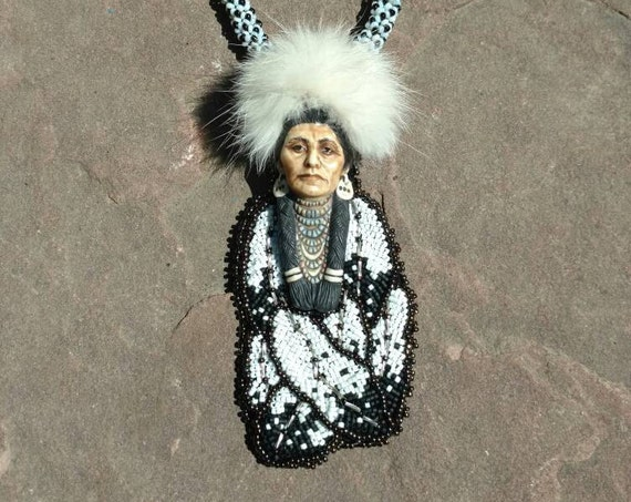 Winter's Eagle warrior pendent Beadwork Dreams Raven. Laura mears cabochon