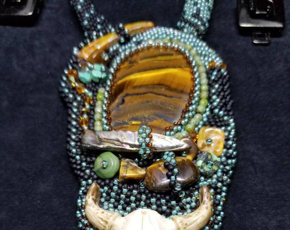 Desert sunset necklace Beadwork Dreams Raven Laura Mears cabochon Native American inspired Beadwork