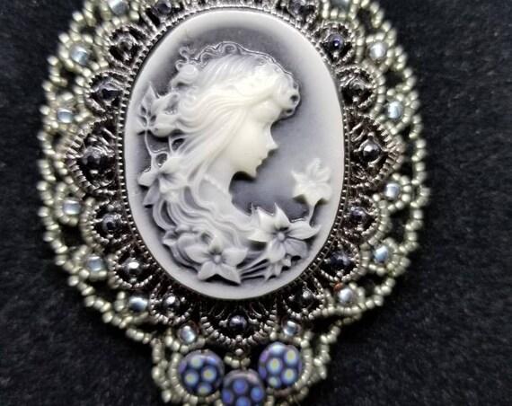 Gray shadow  goddess Native American inspired Beadwork Dreams Raven