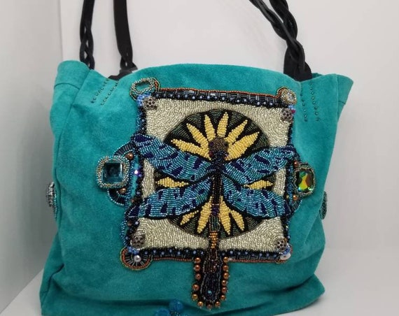 Dragonfly beaded shoulder bag Native American inspired Rita Caldwell