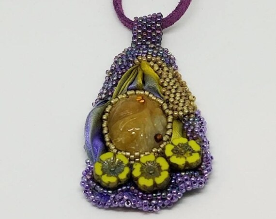 Purple silk and flowers pendant Rita Caldwell Native American inspired