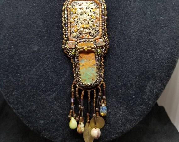 Painted Jasper pendent Native American inspired by Beadwork Dreams Raven