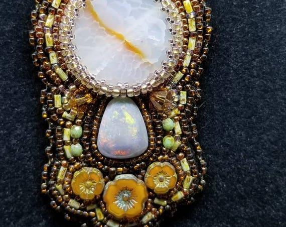 Moon stone pendent Native American inspired Beadwork Dreams Raven is Raven
