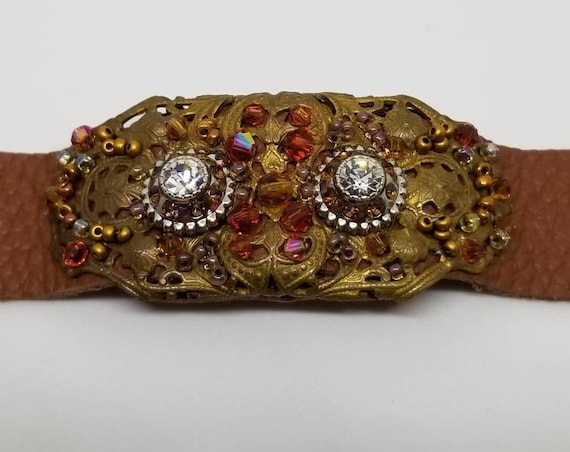 Topaz filigree bracelet Rita Caldwell Native American inspired beadwork