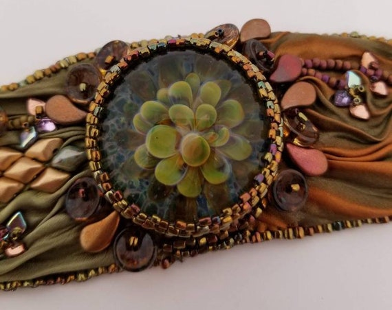 Glass and silk bracelet Rita Caldwell Native American inspired