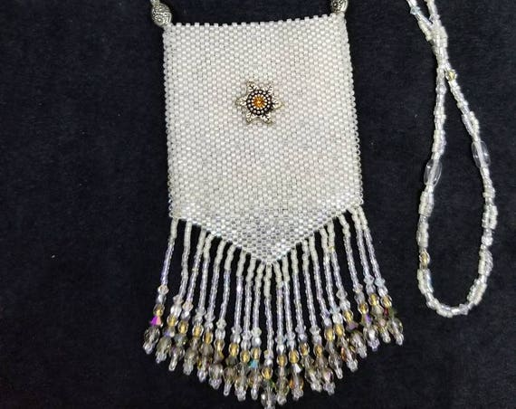 Silver snows amulet bag Native American inspired Beadwork Dreams Raven