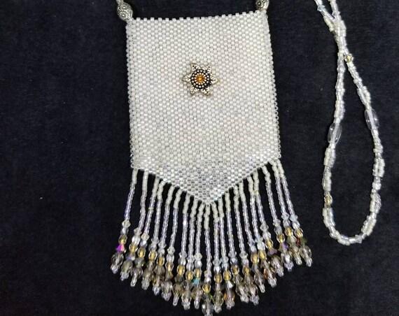Silver snows amulet bag Native American inspired Beadwork Dreams Raven
