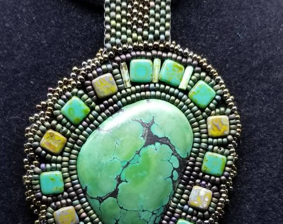 Green turquoise pendent Native American inspired Beadwork Dreams Raven