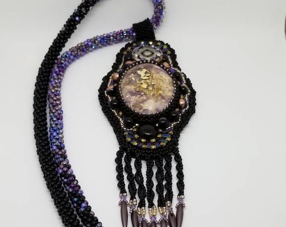 Purple Rainbows Edge Rita Caldwell Native American inspired beadwork